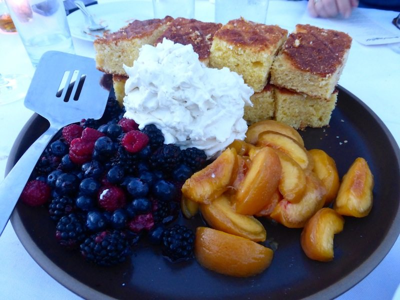 Grilled cornbread, Farm peaches, Pio's berries, herb chantilly